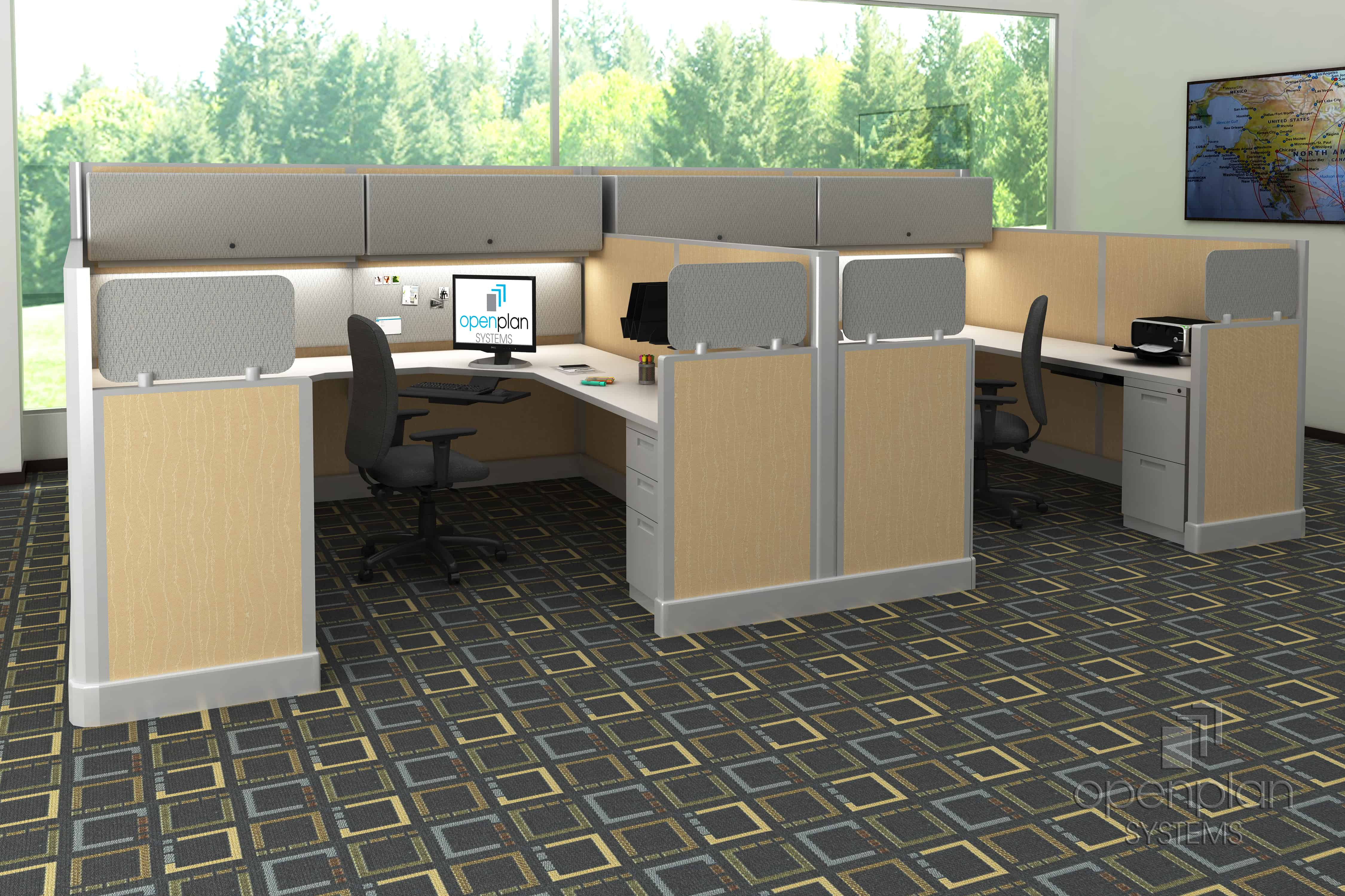 Signature Series Tiled Workstations With Glass By Open