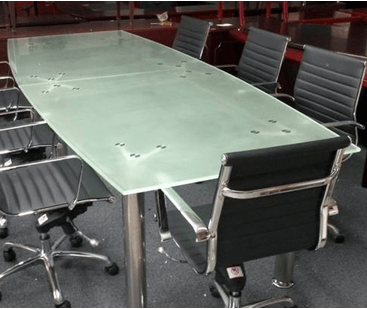 10 Foot Boat Shape Glass Conference Table W/ Chrome Legs   Direct Office  Solutions