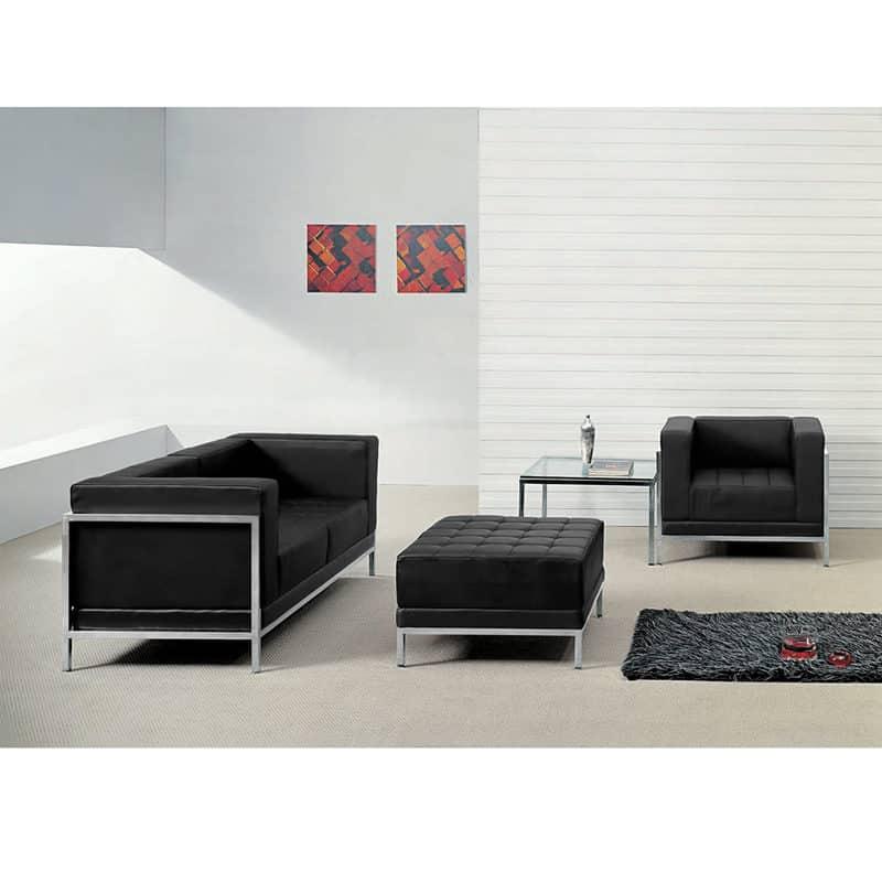 hercules imagination series black leather loveseat chair ottoman