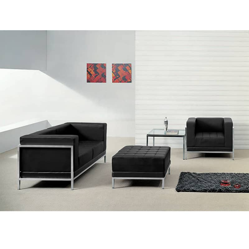 Charmant HERCULES IMAGINATION SERIES BLACK LEATHER LOVESEAT, CHAIR U0026 OTTOMAN SET   Direct  Office Solutions
