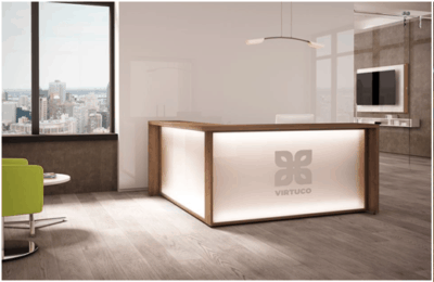 Custom Espresso And White Reception Desk Direct Office Solutions