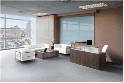 Custom Espresso And White Reception Desk Direct Office