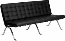 Black Leather Curved Sofa With Curved Chrome Legs - Direct ...
