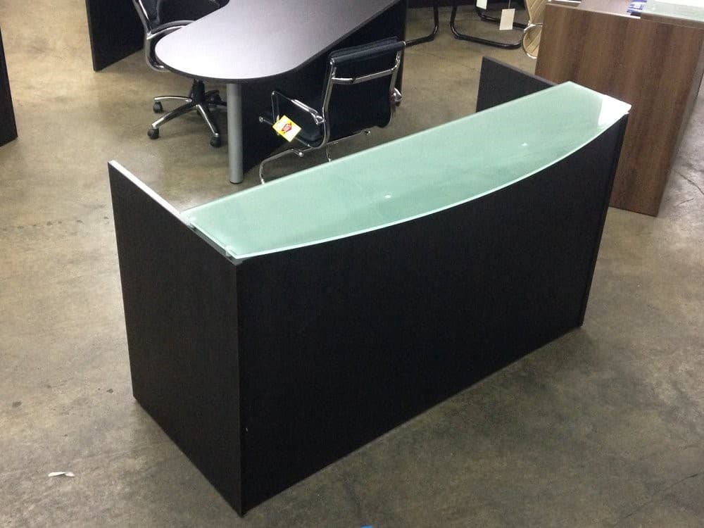 Custom Espresso Reception Desk With Frosted Glass