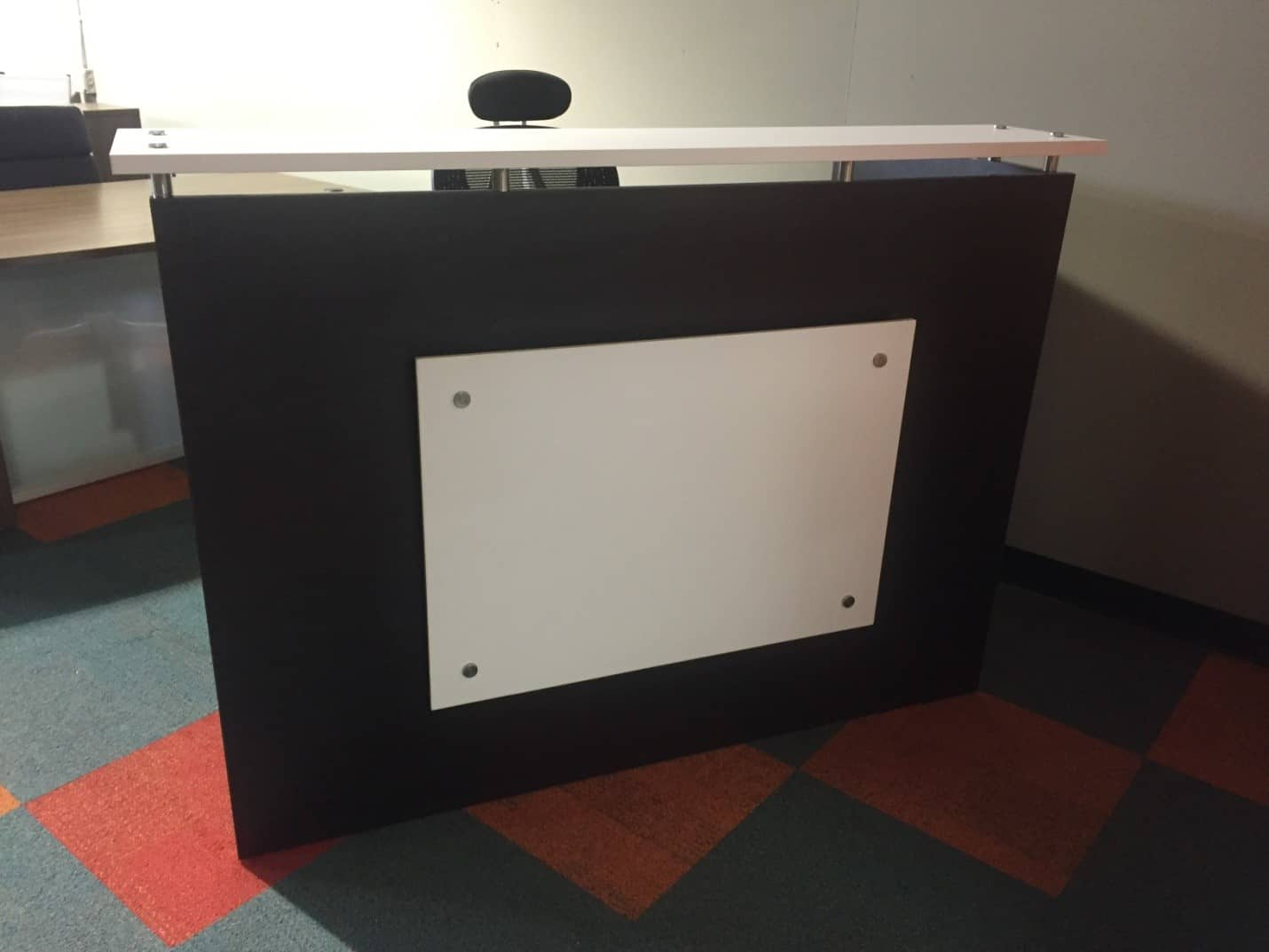 Custom espresso and white reception desk direct office solutions - Custom office desk ...