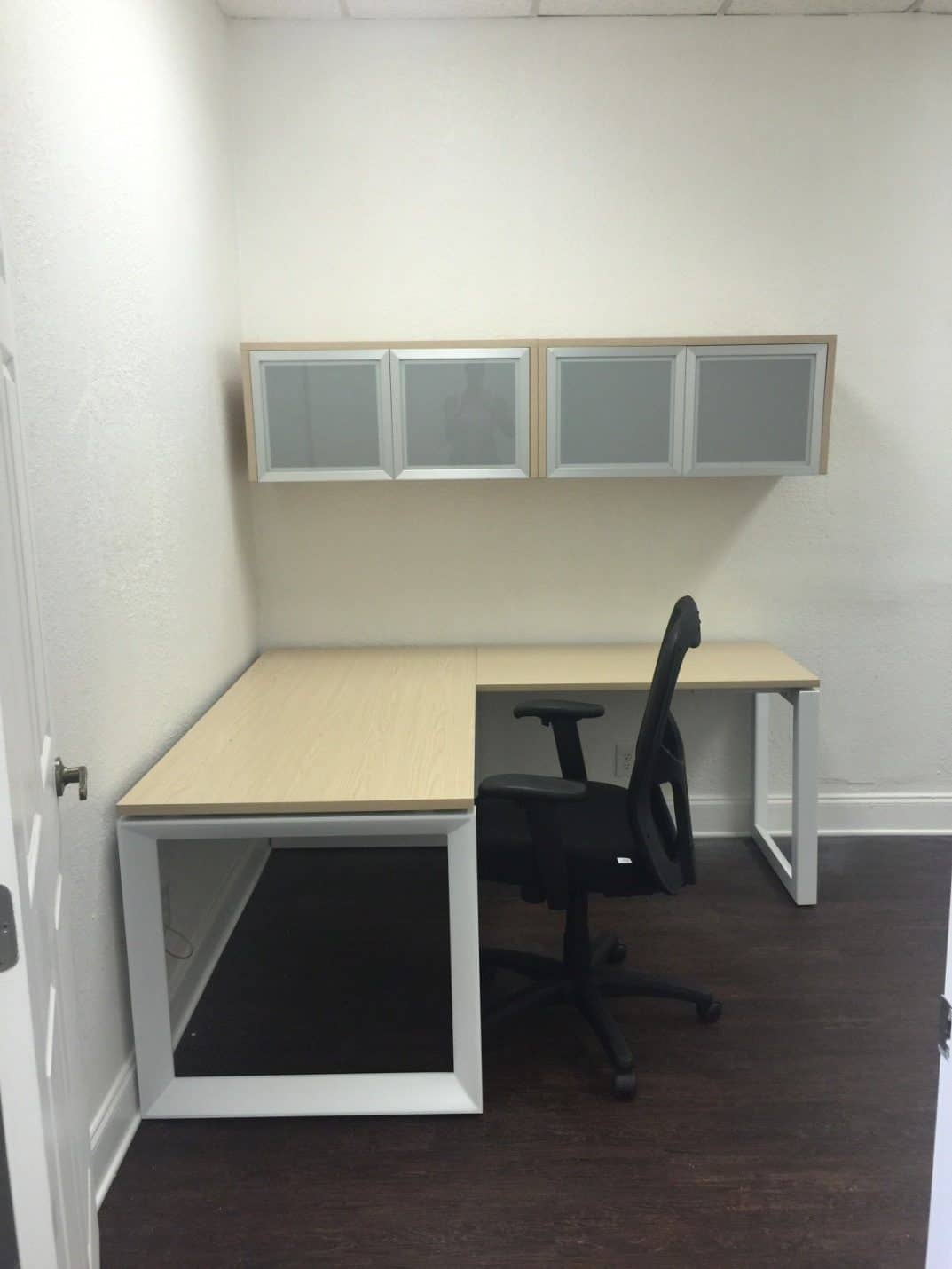 wall mounted cabinets office. Custom Light Maple L Desk With Metal \u201cO\u201d Leg And Wall Mounted Cabinets - Direct Office Solutions
