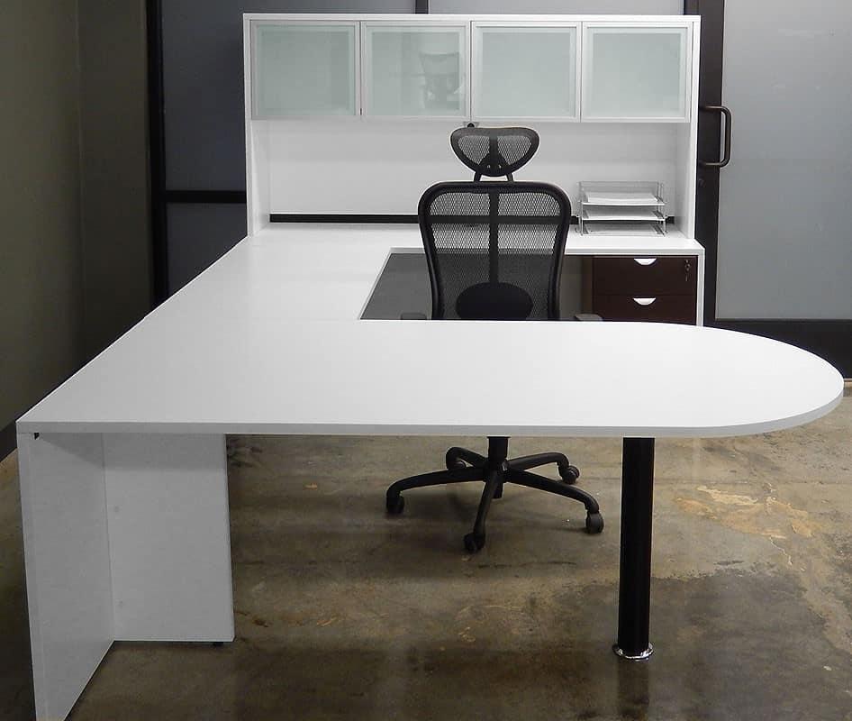 Custom White U Shape Desk With Hutch Glass Doors And