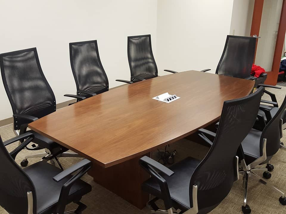 Jsi Boat Shape Conference Table With Pop Up Power Module