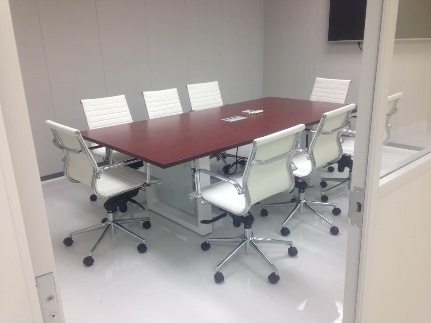 Rectangular Cherry Conference Table With Metal Square Leg   Direct Office  Solutions
