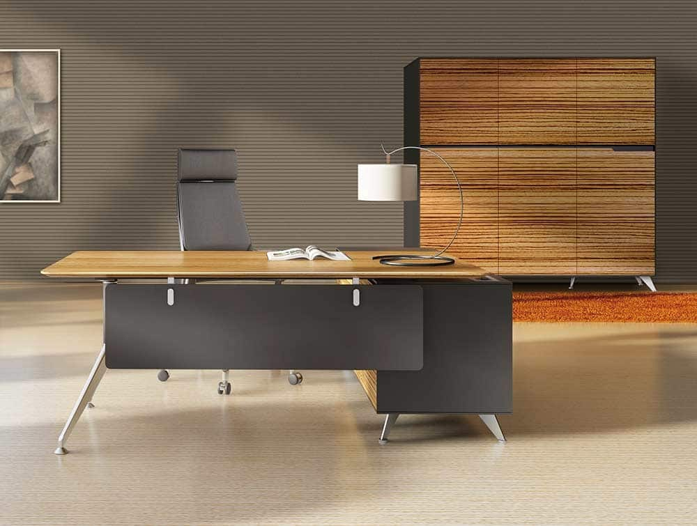 Modern Executive Desk In Wood Veneer Walnut And Grey