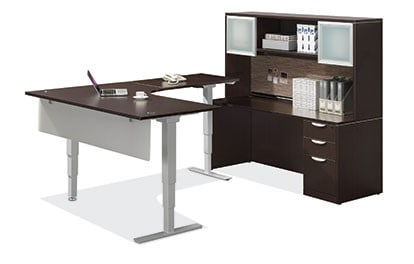 Sit Stand Desk With Electric Lift And Credenza With Hutch