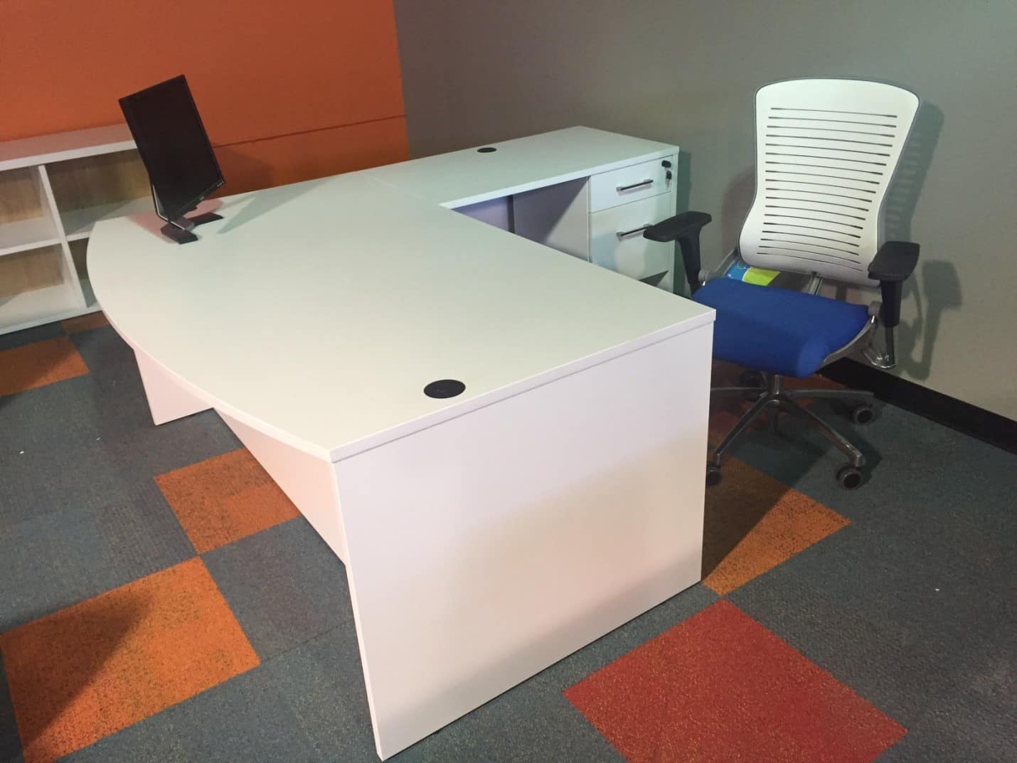 White Bow Front Executive L Shape Desk Direct Office