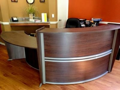 Curved Reception Desk In Walnut Direct Office Solutions