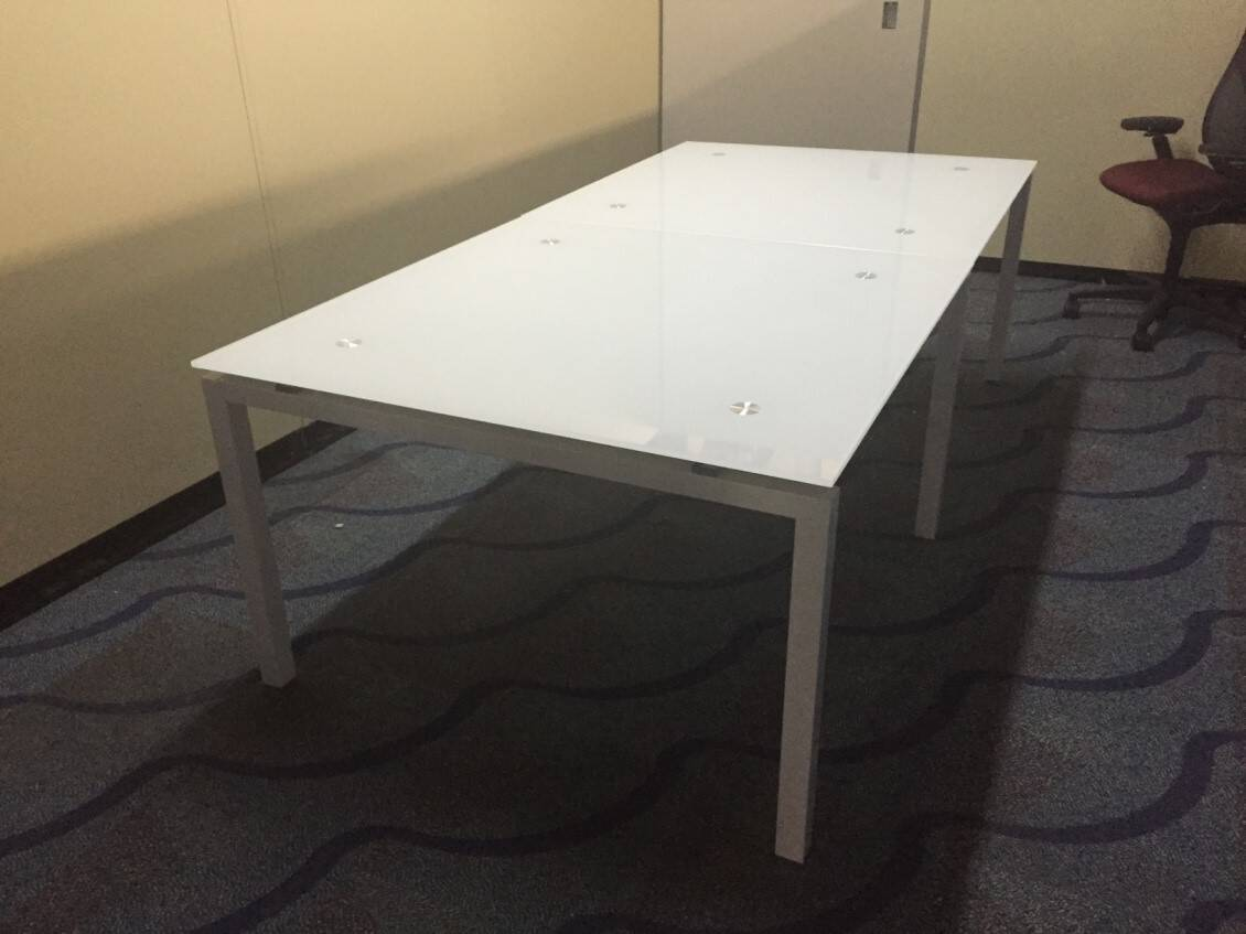 6 8 Foot Rectangular Glass Conference Table With White Metal Legs Direct Office Solutions