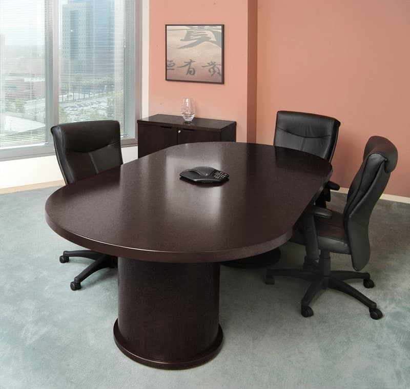 Wood veneer racetrack espresso conference table 6 12 foot for 12 ft conference table