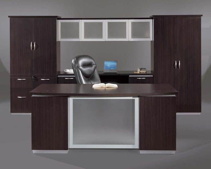 Executive Bow Front Desk With White Glass Modesty Pane