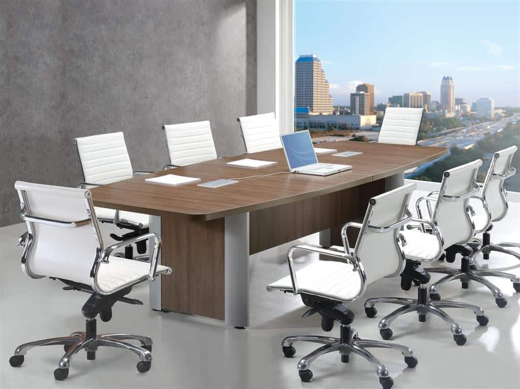 10 Foot Boat Shape Conference Table With Silver Leg
