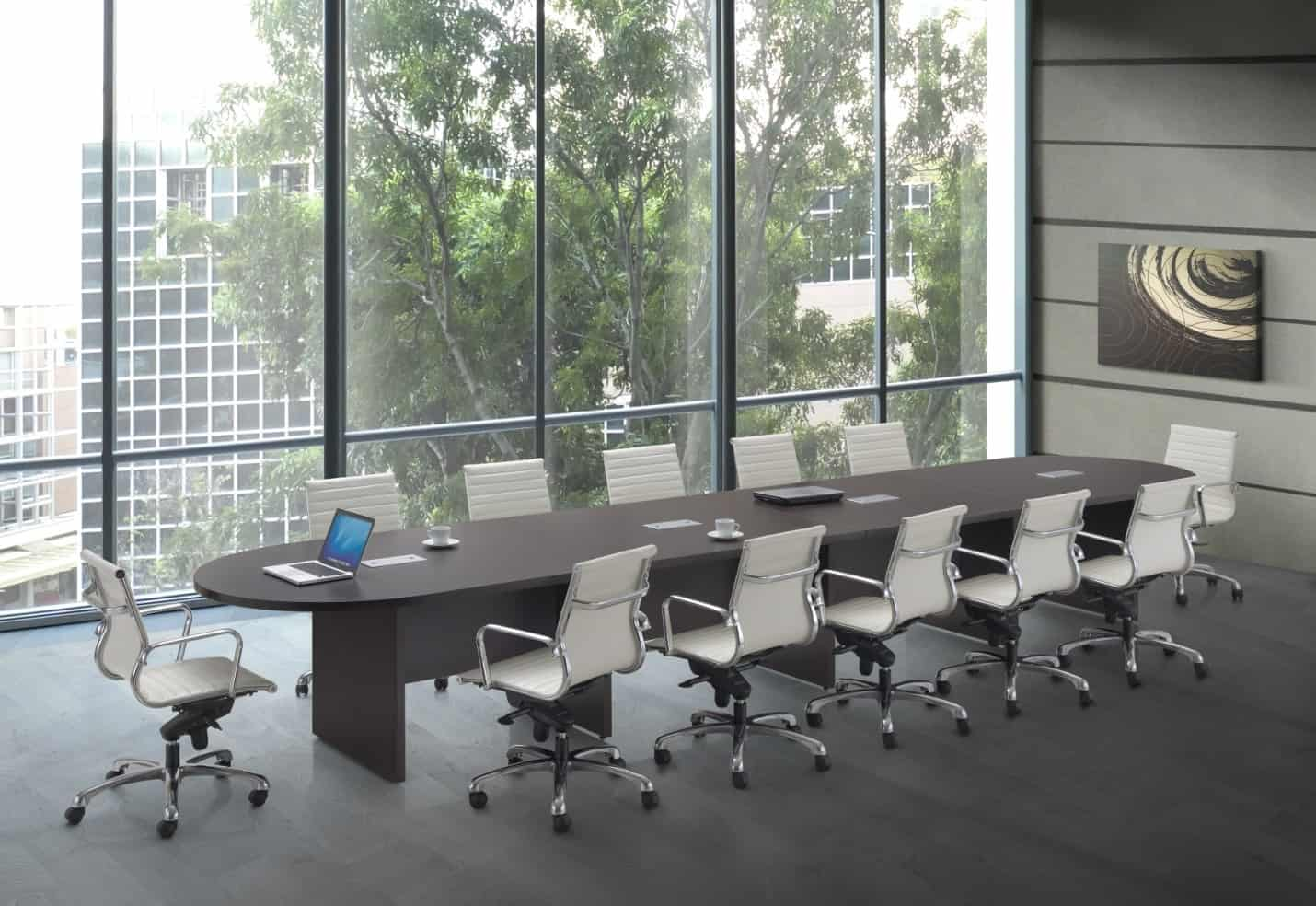 Foot Racetrack Expandable Conference Table With Panel Leg Base - 18 foot conference table