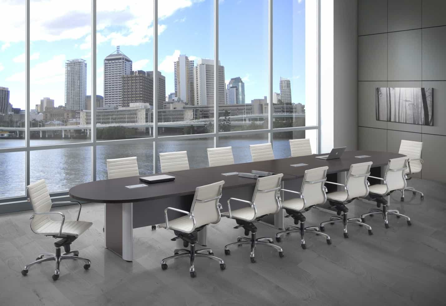 20 Foot Racetrack Expandable Conference Table With Silver