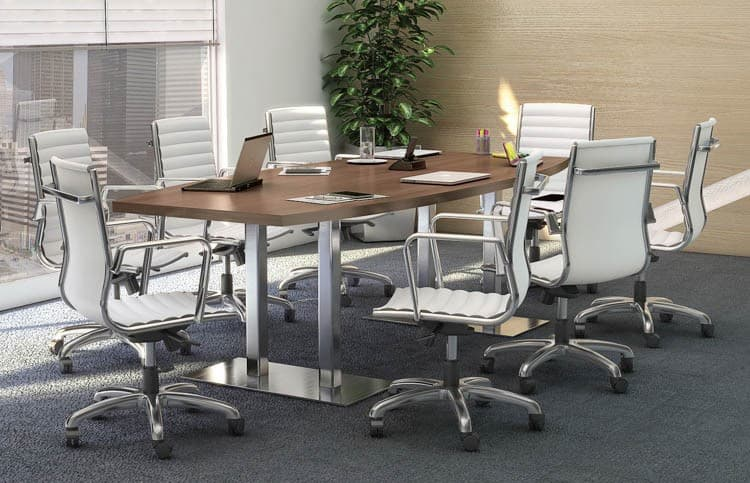 8 foot boat shape conference table with chrome base - direct office