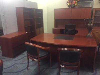 Cherry Wood Veneer Executive Suite With Personal Conference Table - Cherry wood conference table