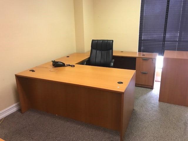 American Cherry OTG U Shape Desk with File File Pedestal