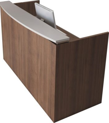 Office Source PL Series Reception Desk Shell features a durable laminate finish. High-impact 3 mil Tough Edge is standard on all tops, end panels and drawer fronts. It's strength and durability helps protect the edge from scratches, chips and dents. Choose from Mahogany, Modern Walnut, Espresso, Honey, Coastal Gray and Cherry laminate finishes. Ships ready for easy assembly.