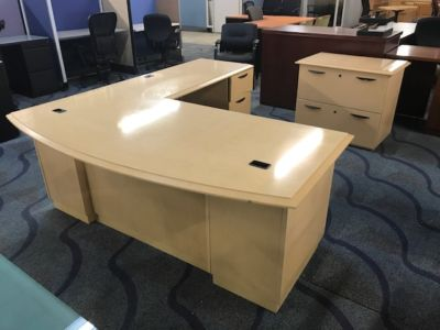 Bowfront Maple L Shape Desk with Matching Lateral File