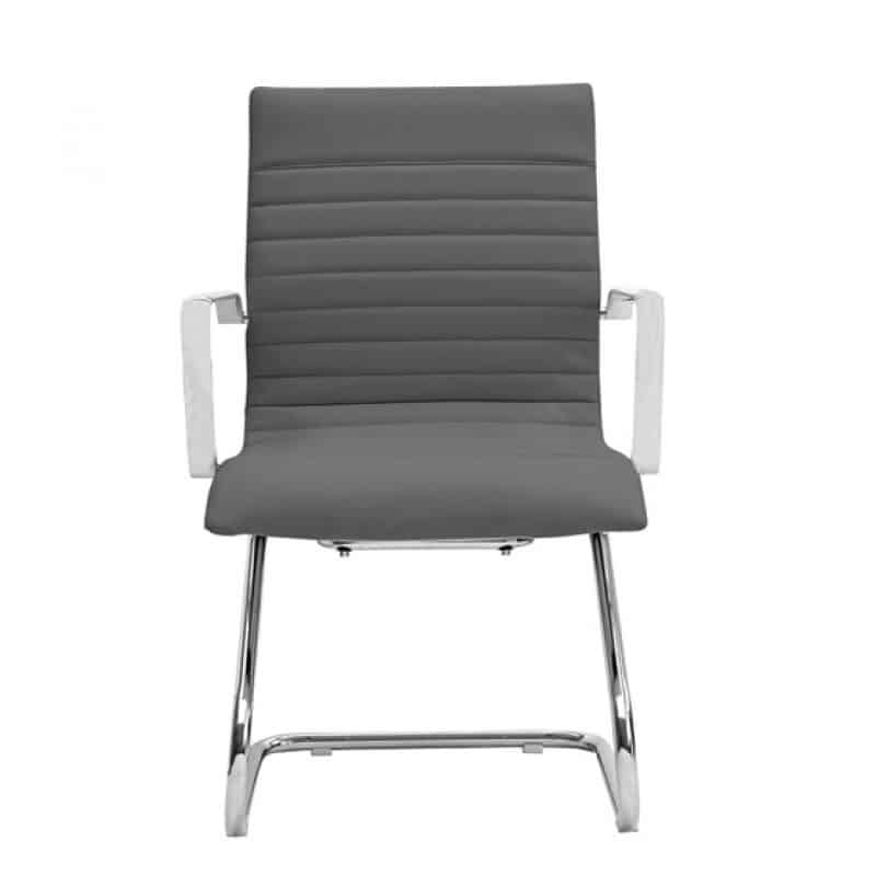 Grey Ribbed Leather Guest Chair Direct Office Solutions