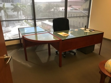 Used L Shape Glass And Cherry Wood Desk Direct Office