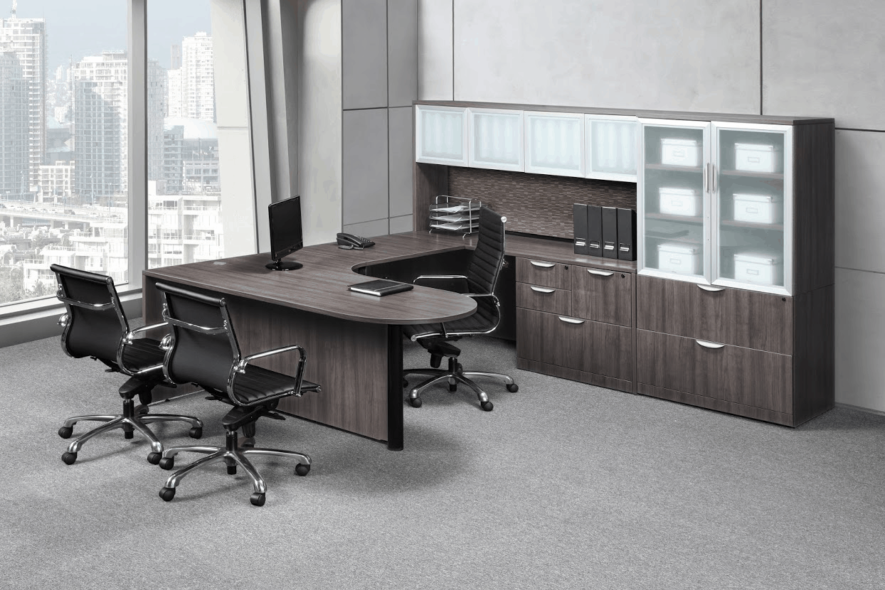 gray u shape desk direct office solutions. Black Bedroom Furniture Sets. Home Design Ideas